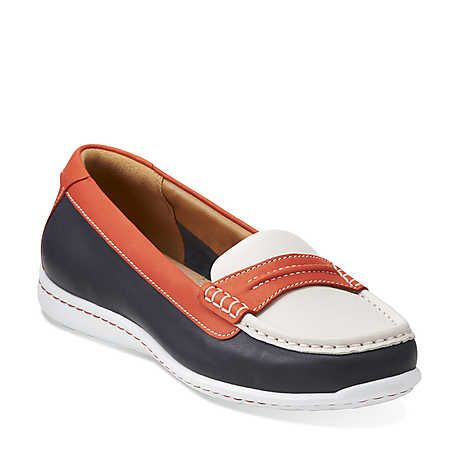 Cliffrose Enza in Navy/Red/White Leather - Womens Shoes from Clarks