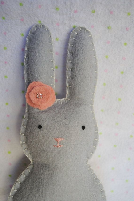Sweet Little Mini Bunnypocket pal gray peach by memeandsaysay, $8.00