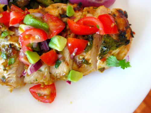Cilantro Lime Chicken with Tomato Avocado Salsa - this was tonight's ...