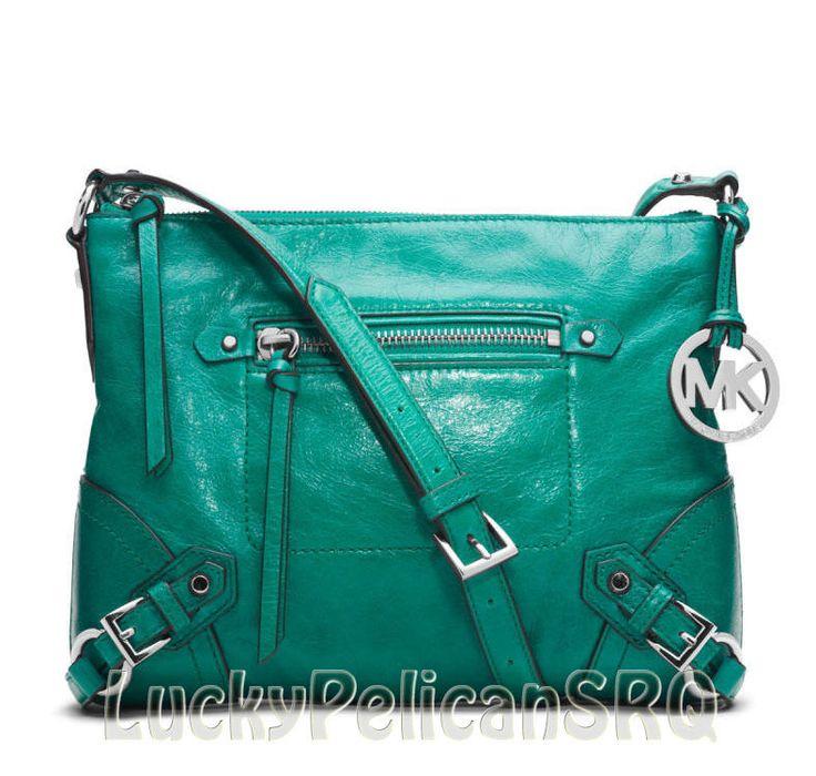 Michael kors fallon medium aqua green leather crossbody messenger bag