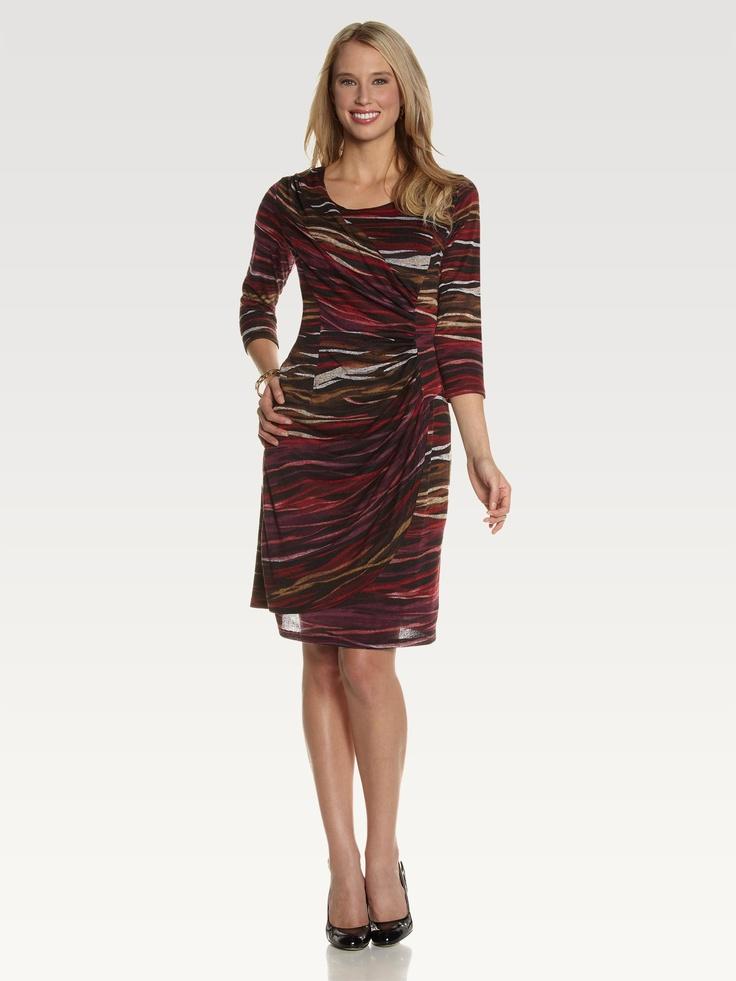 3/4 Sleeve Striped Sweater Dress