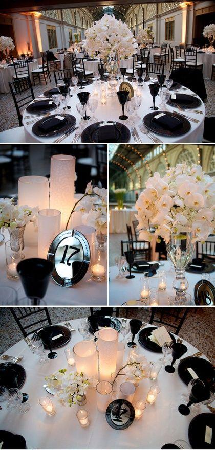 Elegant black and white wedding decor. #blacktieweddings #weddingideas