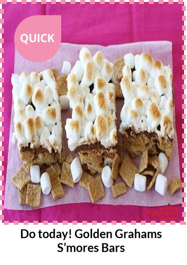 Golden Grahams S'mores Bars... The marshmallows got nice and toasty ...