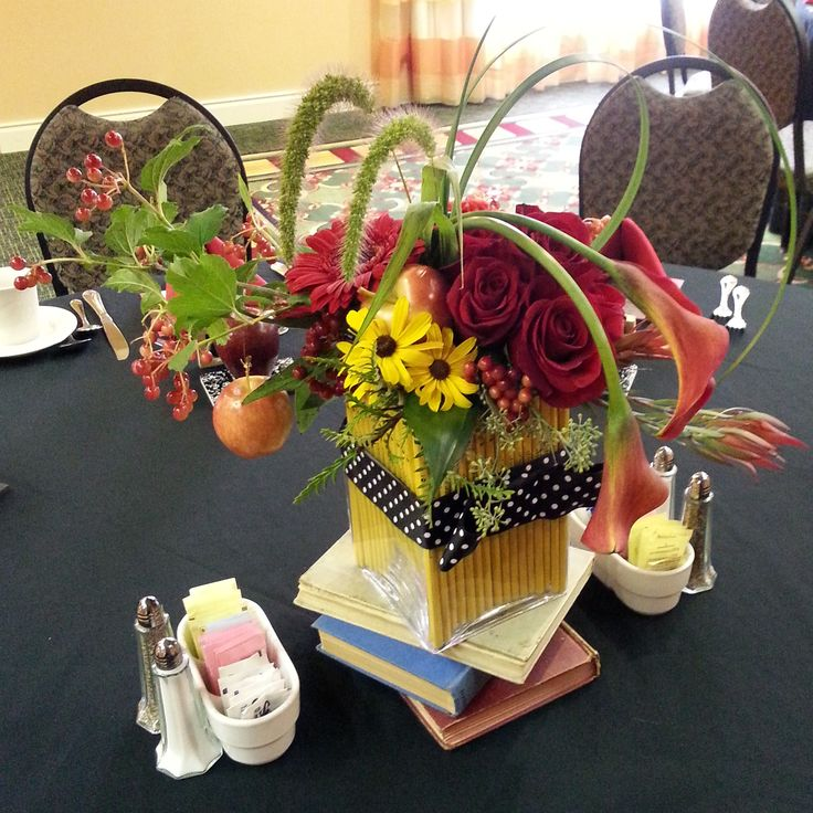 """""""Back to School"""" themed luncheon- floral arrangements created by Metcalfe's Market, Madison, WI"""