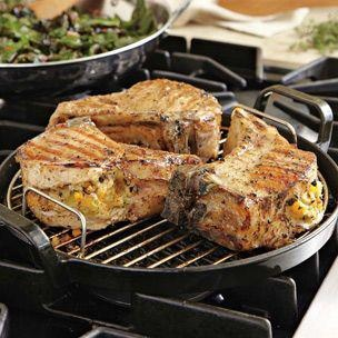 Double-cut pork chops filled with a savory seasonal stuffing