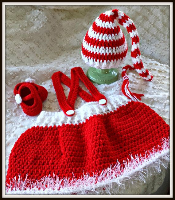 Free Crochet Patterns For Newborn Baby Girl Hats : Baby Santa Outfit Knit Crochet Peppermint Hat