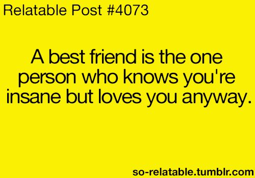 A best friend is the one person who knows your insane but loves you anyways- Relatable Post #4073