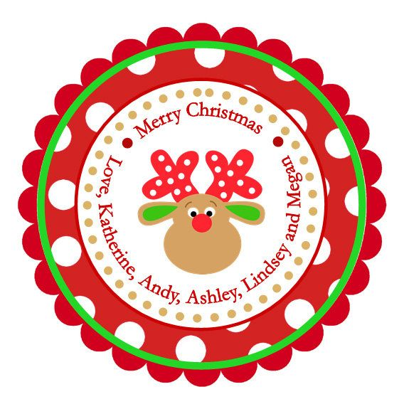 Dot reindeer personalized stickers christmas address labels