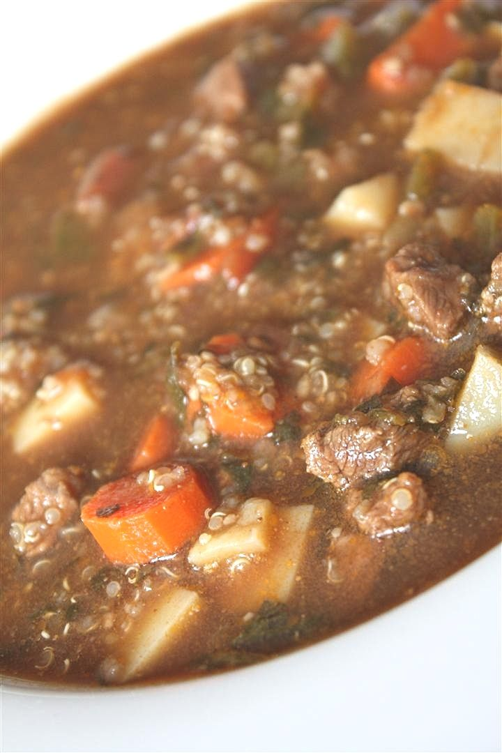 Beef, Potato and Quinoa Soup.... I would leave out the bell pepper for ...