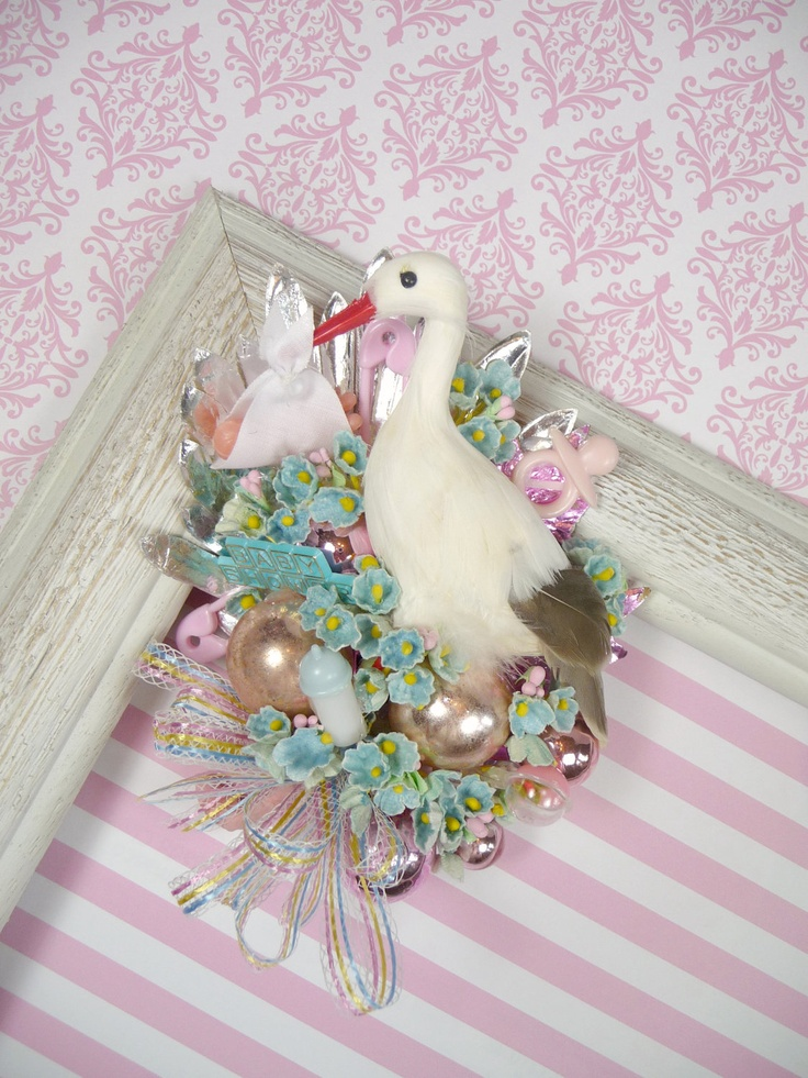 baby shower corsage stork special delivery vintage theme pink blue boy