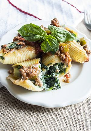 Spinach Stuffed Shells With Meat Sauce Recipe — Dishmaps