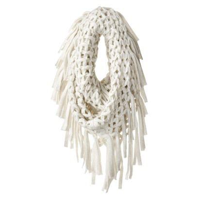 Openweave Knit Infinity Metallic Scarf - Ivory