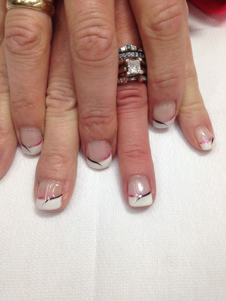 gel nail with pink & black accent swishes. All gel is non-toxic and