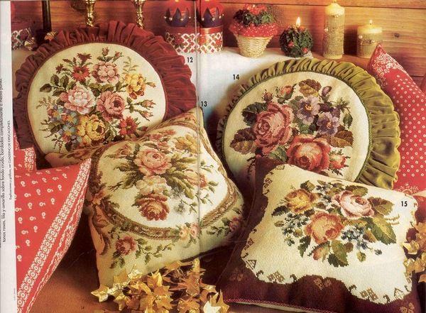 Красивые вышивки для подушки схемы