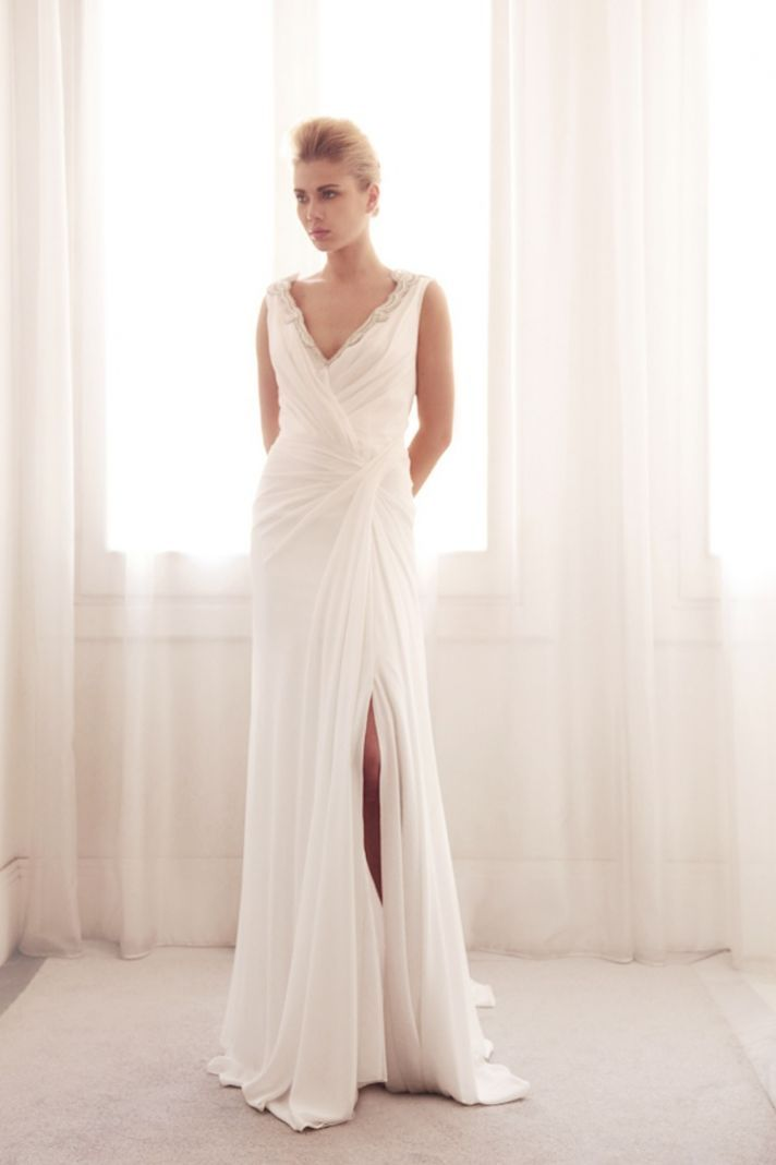 V neck wrap wedding gown by gemy bridal wedding dress for Wear to wedding dresses