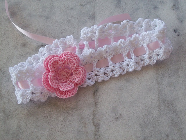 ribbon crochet headband with pink flower crochet for baby Pintere ...