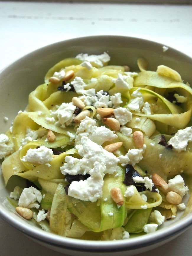Zucchini ribbon salad with feta and pine nuts