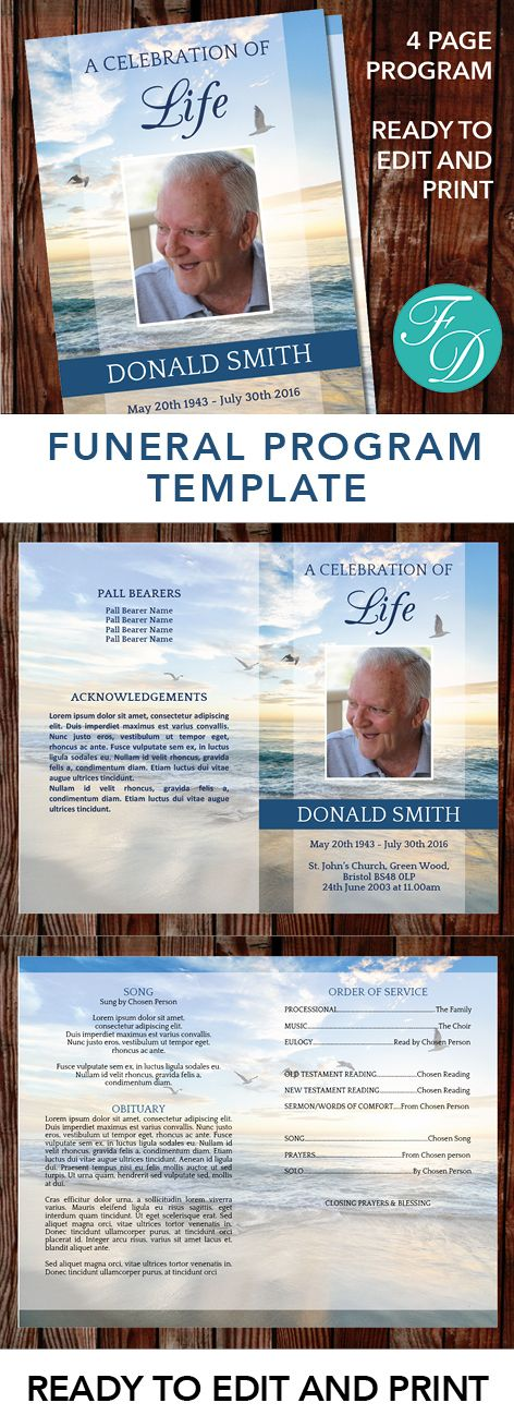 Beach Printable Funeral program ready to edit & print Simply purchase your funeral templates, download, edit with Microsoft Word and print. #obituarytemplate #memorialprogram #funeralprograms #funeraltemplate #printableprogram #celebrationoflife