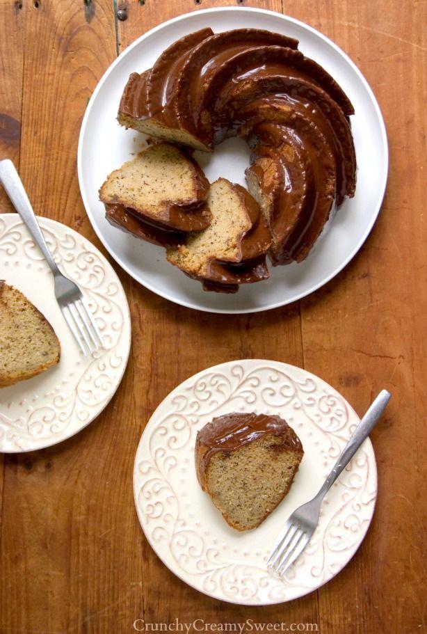 Banana Bundt Cake with Chocolate Glaze... crunchycreamysweet.com ...