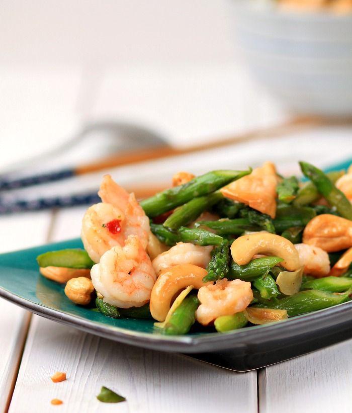Asparagus , Shrimp and Cashew Stir-fry | Asparagus Month | Pinterest