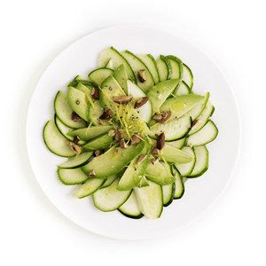 Thinly slice zucchini to make a vegan carpaccio and serve as a light ...