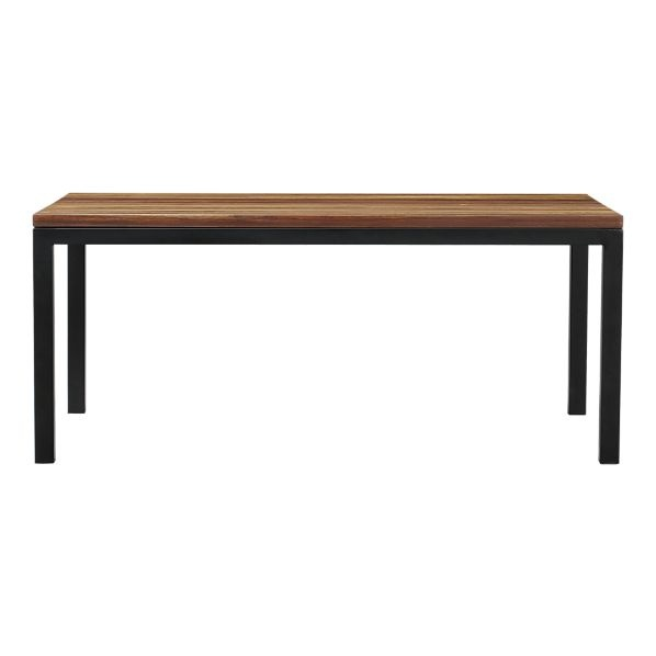 reclaimed wood top natural dark steel base 72x42 parsons dining table. Black Bedroom Furniture Sets. Home Design Ideas