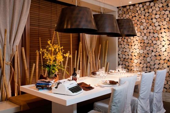 Utilisima Decoracion De Paredes ~ parede de troncos  Restaurant ideas  Pinterest