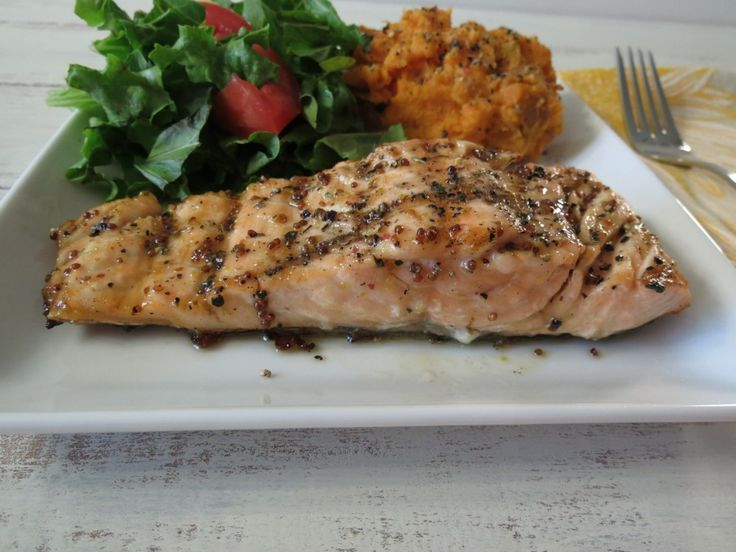 ... healthy grilled fish topped with a maple syrup and mustard glaze