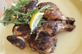 Tuscan Grilled Chicken Under a Brick. Best chicken evah!!!