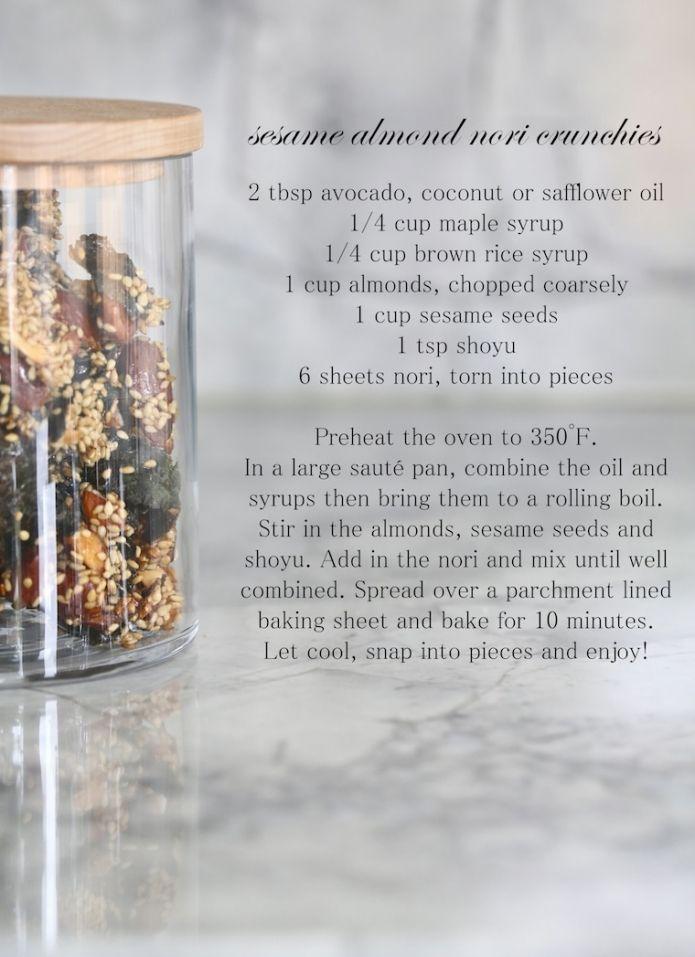sesame almond nori crunchies - click for printable recipe! . Replace ...