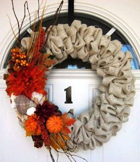 Burlap Bubble Wreath with Fall decorations