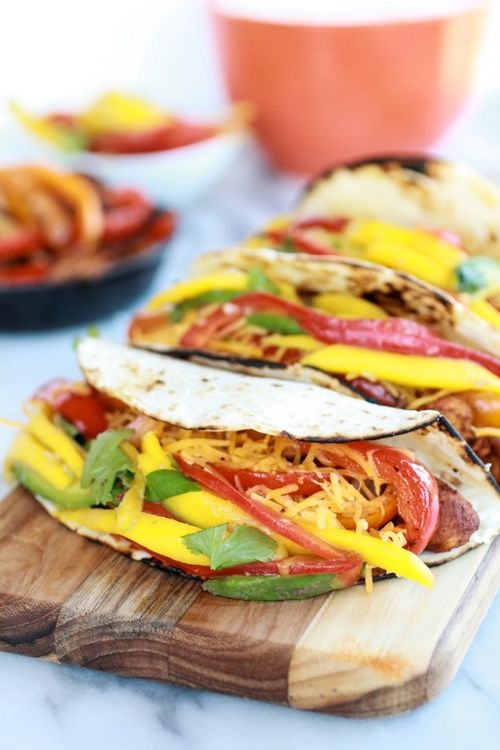 easy chicken fajitas with thai mango slaw and coconut rice