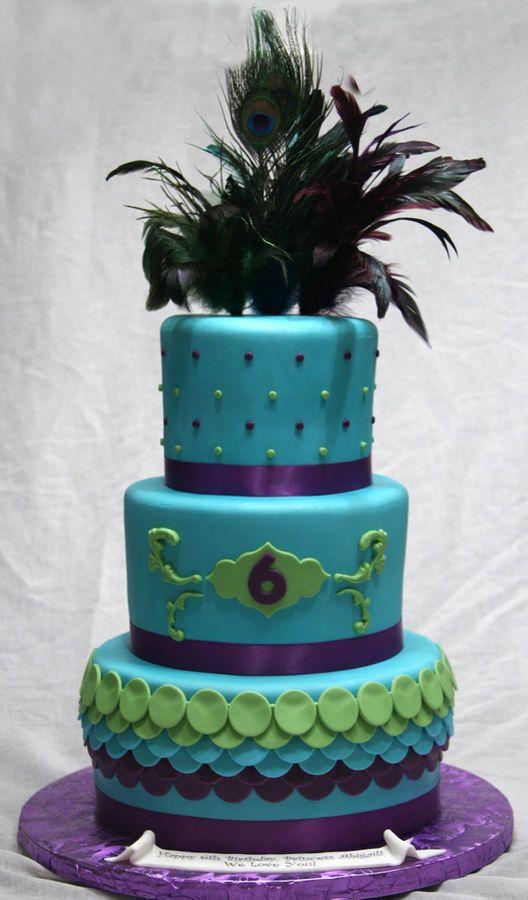peacock theme cake