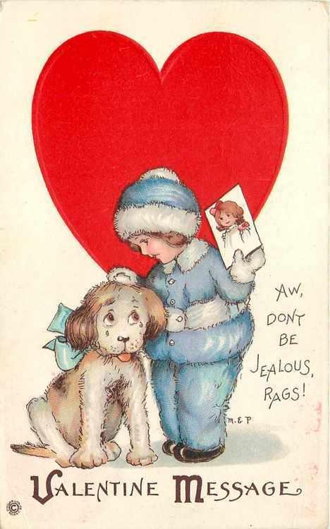 Margaret Evans Price Sad Puppy Dog Rags Is Jealous Valentine Blue Fur Snowsuit