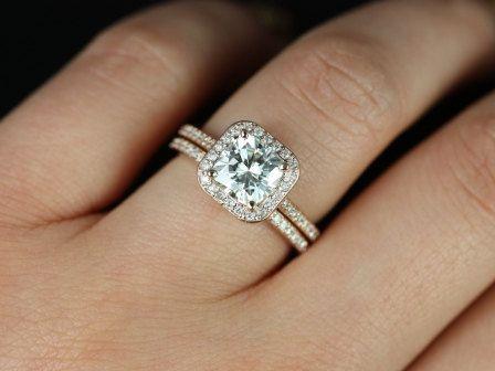 handbags wholesale Camila 14kt Rose Gold Thin FB Moissanite and Diamonds Cushion Halo We