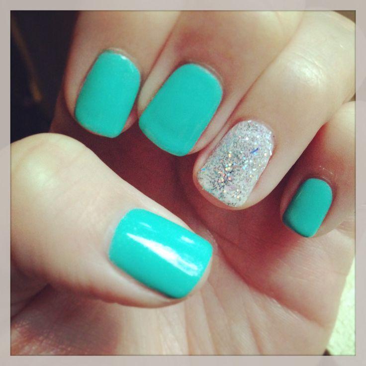 Nails Tiffany blue gel shellac | beautiful creative nails | Pinterest