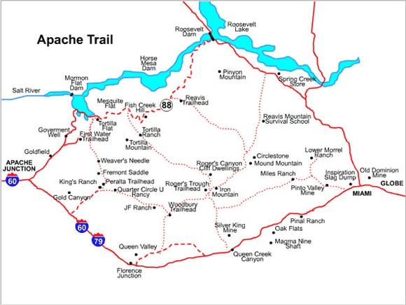 Apache trail map arizona pinterest for Apache lake fishing