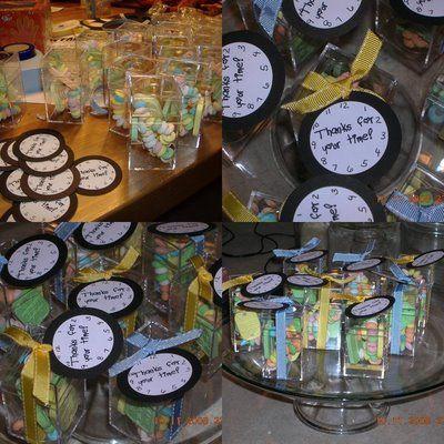 Real party sneak peek around the clock shower favors for Around the clock bridal shower decoration ideas