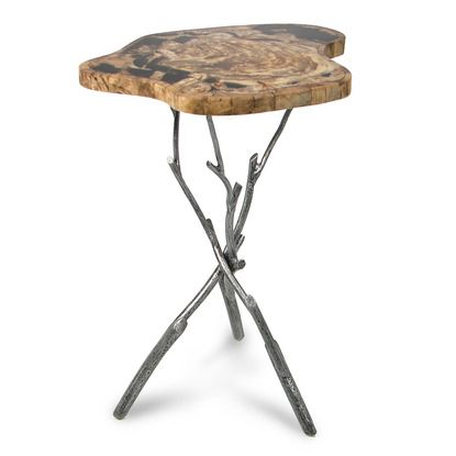 Petrified wood inlaid side table with twig legs