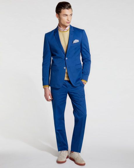Debonair cotton trouser - Blue - Ted Baker UK