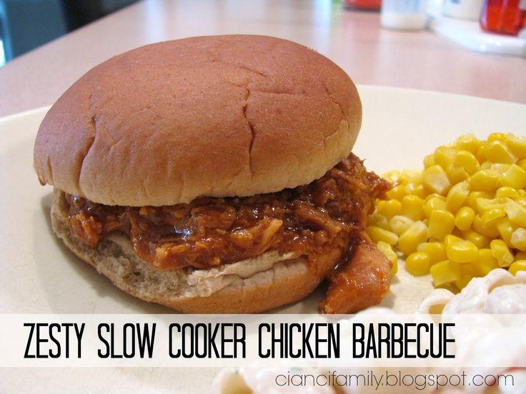 Zesty Slow Cooker Chicken Barbecue | Love My Crock Pot | Pinterest
