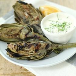 Grilled Artichokes with Lemon Caper Aioli