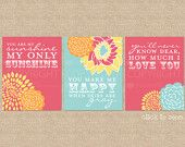 You are My Sunshine Nursery / Kids Room Art Prints, 3 Print Set, Custom match colors to your nursery/room, Style: Blooms & Sunshine - 8 x 10
