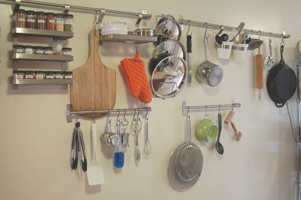 Ikea Grundtal Hanging Pot Rack ~  This would have been great before the reno Ikea GRUNDTAL racks