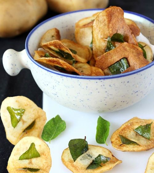 ... and post from Monica Bhide @mbhide - Potatoes with Curry Leaf Inserts