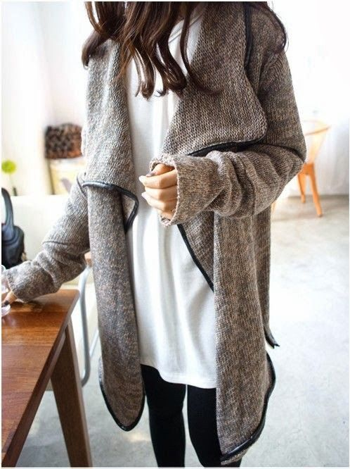 Oversized Black Border Cardigan