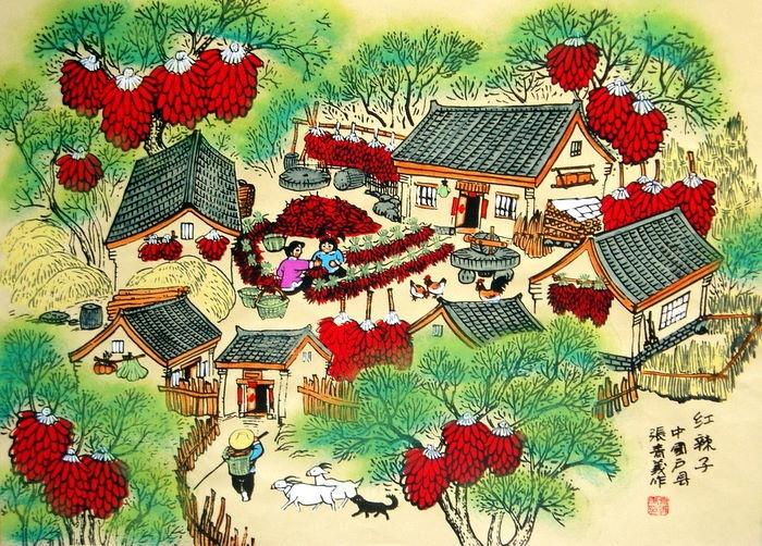 Chinese Folk Art Watercolor Paintingxharvest Season