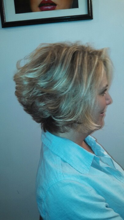 Soft golden blonde with foiled blonde throughout...and a new haircut ...