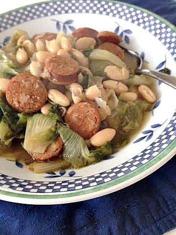 Spicy Sausage, Escarole & Bean Stew | I Was Born to Cook
