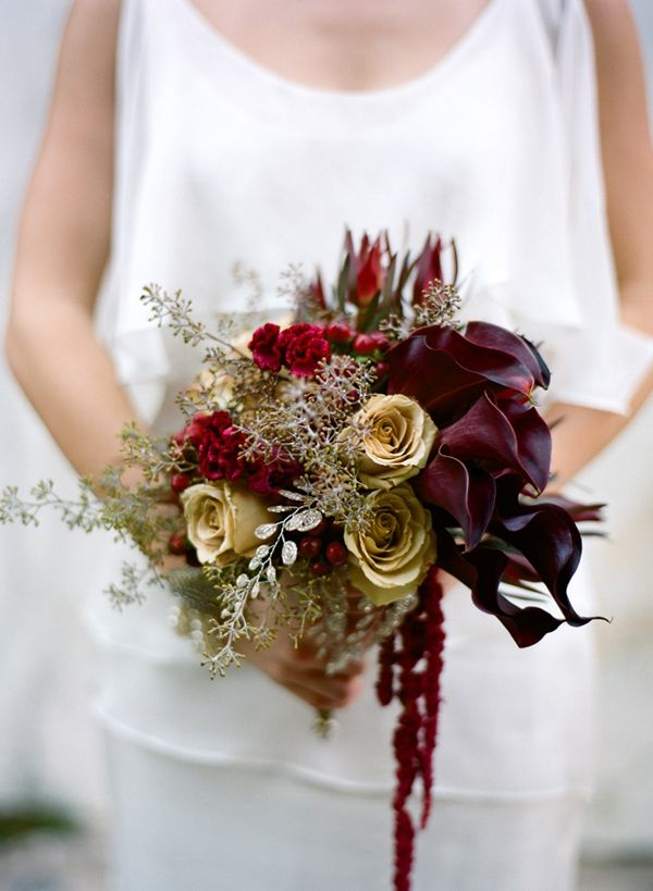 Wedding Bouquet Burgundy : Burgundy and gold bridal bouquet w e d i n g